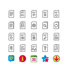 Document line icons report checklist and copy vector