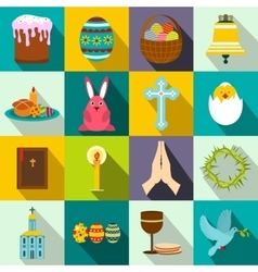 Easter flat icons vector image vector image