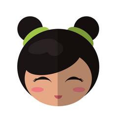 Face beauty kokeshi doll vector
