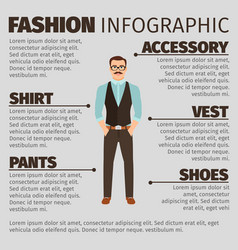 fashion infographic with hipster style man vector image vector image