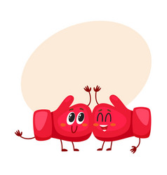 funny couple of red boxing glove characters with vector image