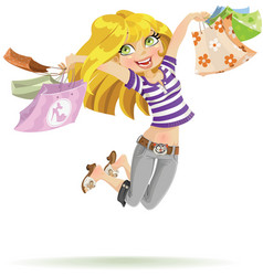 Girl shopaholic with shopping bags on white vector image vector image