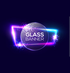 Glass banner on neon light frame with round plate vector