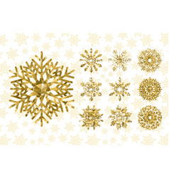 golden snowflakes collection vector image
