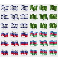 Israel adygea russia azerbaijan set of 36 flags of vector