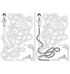 japanese girl maze vector image vector image