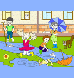 kids color children playing in rainy vector image vector image