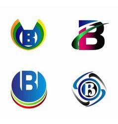 Letter B alphabet logo letter B icon set vector image vector image