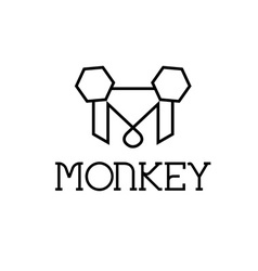 Monkey monogram vector