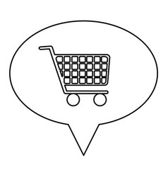 Monochrome contour of oval speech with shopping vector