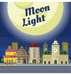 Moon light urban city at night time vector