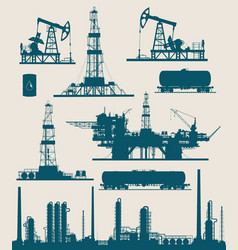 Oil and gas industry set vector