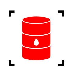 Oil barrel sign red icon inside black vector