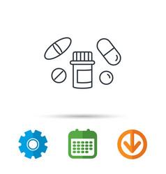 Pills icon pharmacy bottle sign vector
