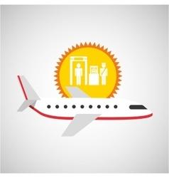Plane white sun symbol travel check baggage vector