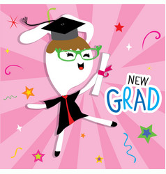 Rabbit animal congratulation new graduate cute car vector