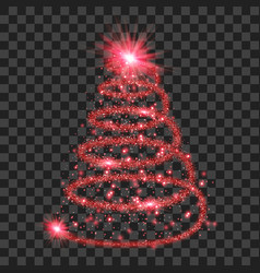 red particle wave in form of christmas tree vector image vector image
