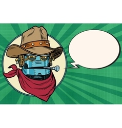 Robot cowboy West wild world vector image vector image