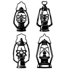 set of old style kerosene lamps design elements vector image vector image