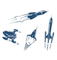 Spaceships and rockets vector image