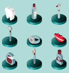 Stomatology flat isometric set vector