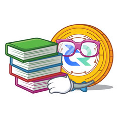 Student with book decred coin mascot cartoon vector