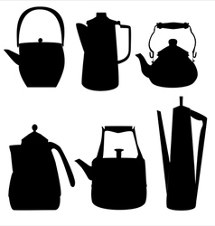teapots silhouettes vector image