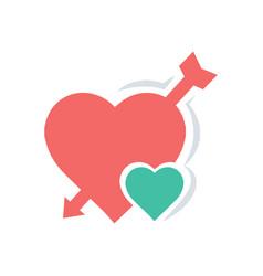 Valentines heart mini arrow red icon vector