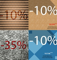10 35 icon set of percent discount on abstract vector