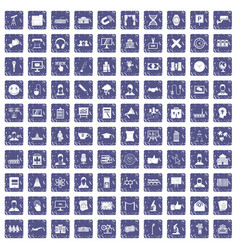100 conference icons set grunge sapphire vector