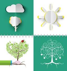 Nature symbols set paper cut cloud tree and sun vector