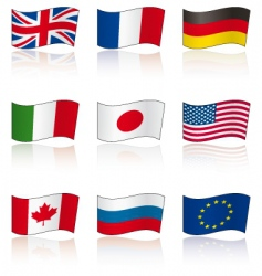 flags of g8 members reflection vector image
