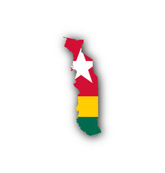 Map and flag of togo vector