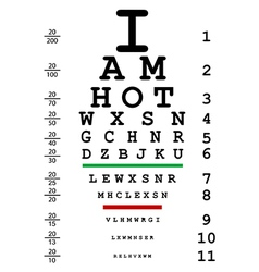 Words i am hot with optical eye test use by vector
