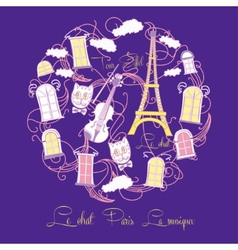 Blue background with music and tour eiffel vector