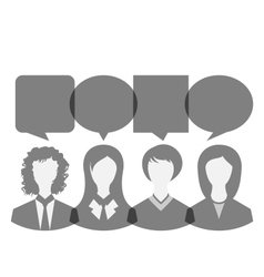 Icons of business women with dialog speech bubbles vector