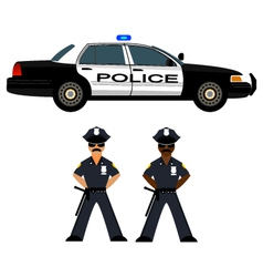 Police car and police officer vector