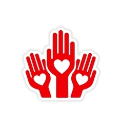 Icon sticker realistic design on paper hands heart vector