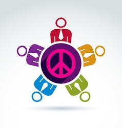 A group of people standing around a peace sign vector
