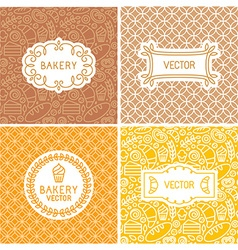 set of seamless backgrounds with frames and labels vector image