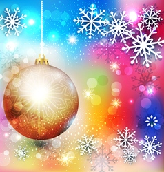 background with Christmas ball and snowflake vector image