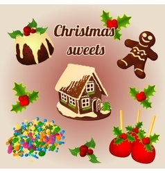 Holly berry and sweet christmas desserts vector