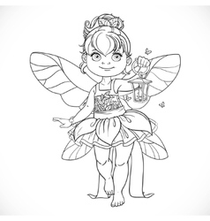 Beautiful little fairy with a flashlight outlined vector