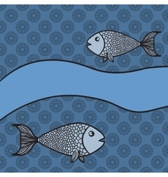 Print with two cartoon fishes and blank banner vector