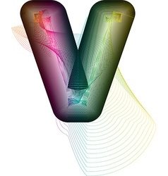 Abstract colorful Letter V vector image