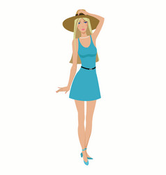 Beautiful girl in a dress and hat vector