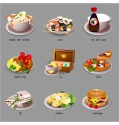 Big food set nine icons of delicious dishes vector image