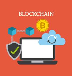 Blockchain technology cloud computing storage vector