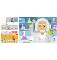 Cartoon set of backgrounds - chemical laboratory vector