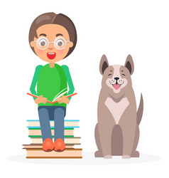 child in glasses sitting with books and husky vector image